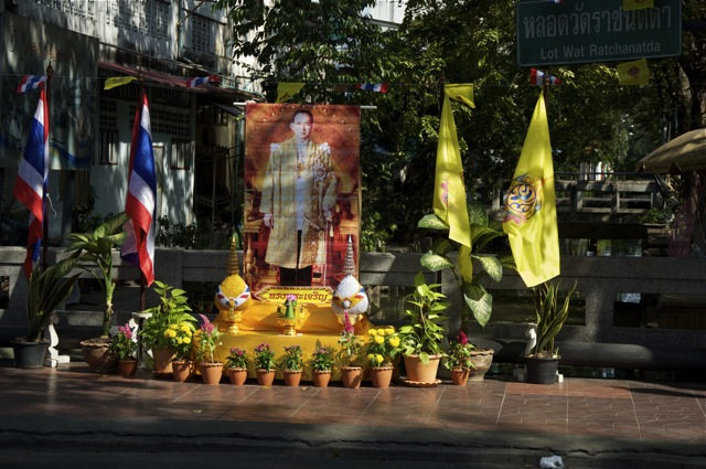 Many shrines with the Thai King in Bangkok during his birthday celebrations